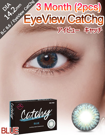 [3 Month/ブルー/ BLUE] アイビュー  キャッチ - 3ヶ月 - EyeView Catchg - 3 Month (1pcs*2pack) [14.2mm]