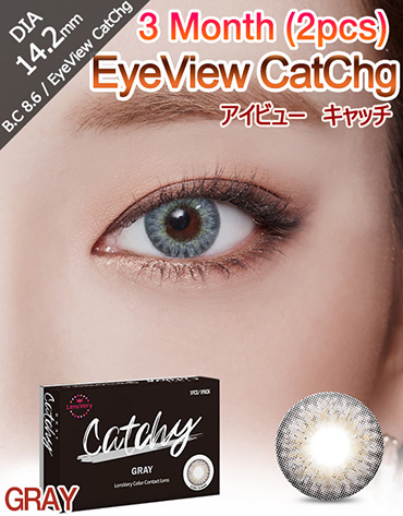 [3 Month/グレー/GRAY] アイビュー  キャッチ - 3ヶ月 - EyeView Catchg - 3 Month (1pcs*2pack) [14.2mm]