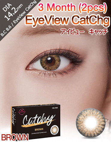 [3 Month/ブラウン/BROWN] アイビュー  キャッチ - 3ヶ月 - EyeView Catchg - 3 Month (1pcs*2pack) [14.2mm]