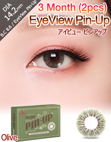 [3 Month/オリーブ/Olive] アイビュー ピンアップ - 3ヶ月 - EyeView Pin-Up - 3 Month (1pcs*2pack) [14.2mm]