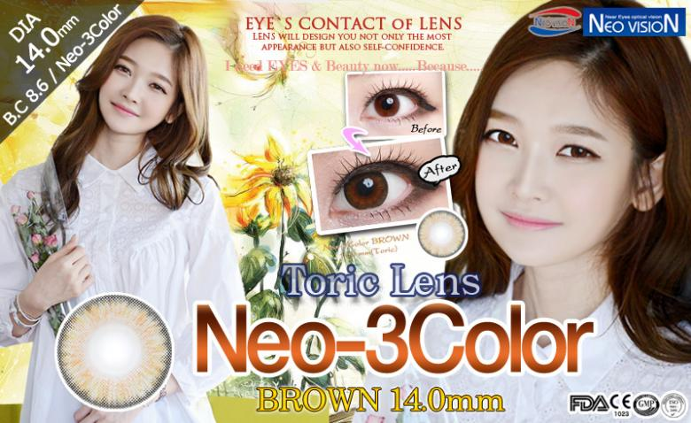 [乱視用/ブラウン/BROWN] ネオ 3カラー - Neo-3Color Toric [14.0mm/Neovision社]