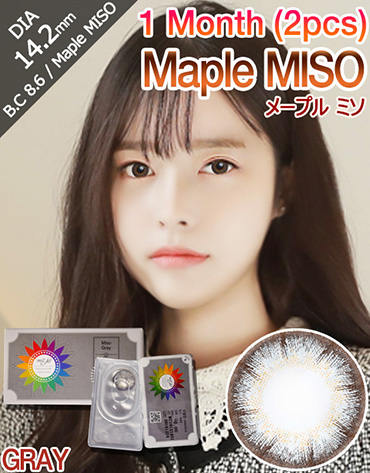 [1 Month/グレー/GRAY] メープル ミソ 1ヶ月 - Maple MISO 1 Month (2pcs) [14.2mm]
