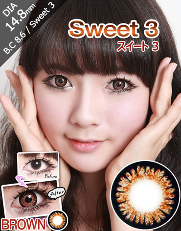 [25%SALE][ブラウン/BROWN] スイート 3 - Sweet 3-color [14.8mm/icontact社]